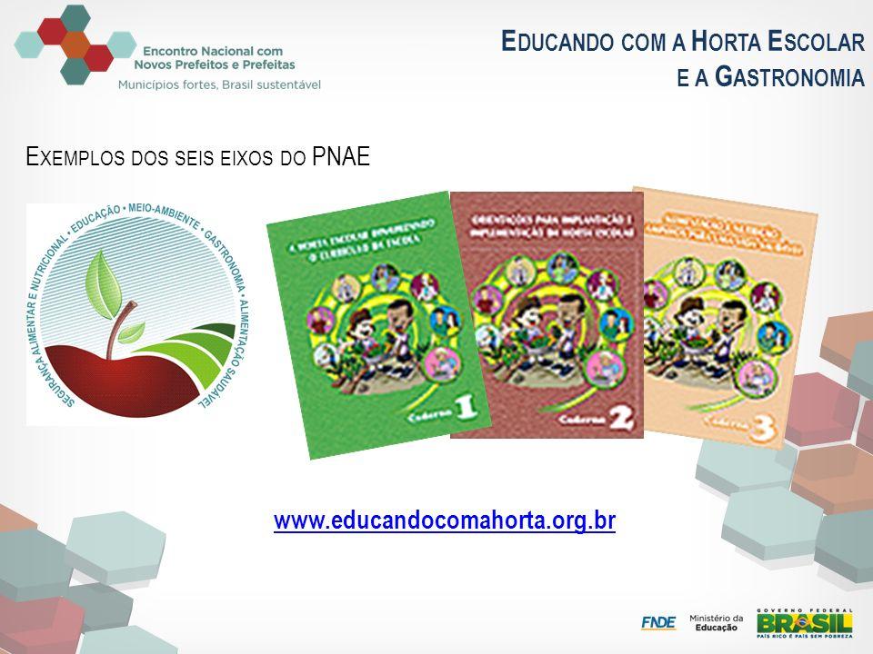 E DUCANDO COM A H ORTA E SCOLAR E A G ASTRONOMIA www.educandocomahorta.org.br E XEMPLOS DOS SEIS EIXOS DO PNAE
