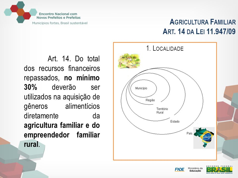 A GRICULTURA F AMILIAR A RT. 14 DA L EI 11.947/09 Art. 14. Do total dos recursos financeiros repassados, no mínimo 30% deverão ser utilizados na aquis