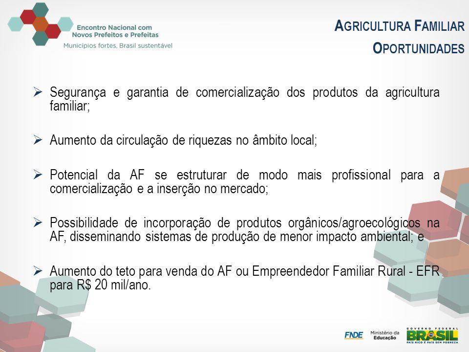 A GRICULTURA F AMILIAR O PORTUNIDADES Segurança e garantia de comercialização dos produtos da agricultura familiar; Aumento da circulação de riquezas
