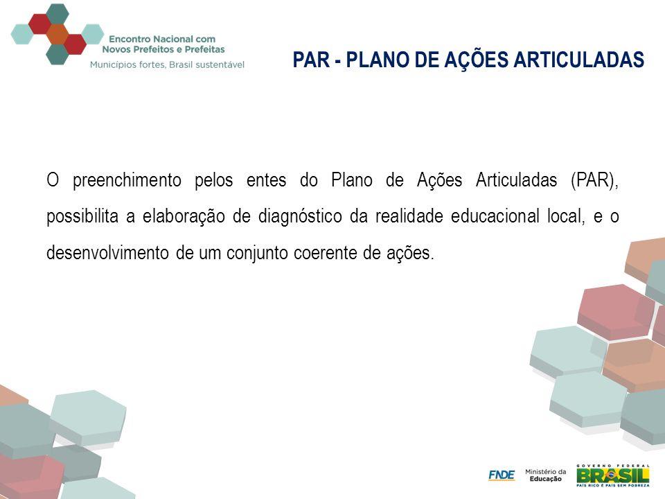O preenchimento pelos entes do Plano de Ações Articuladas (PAR), possibilita a elaboração de diagnóstico da realidade educacional local, e o desenvolv