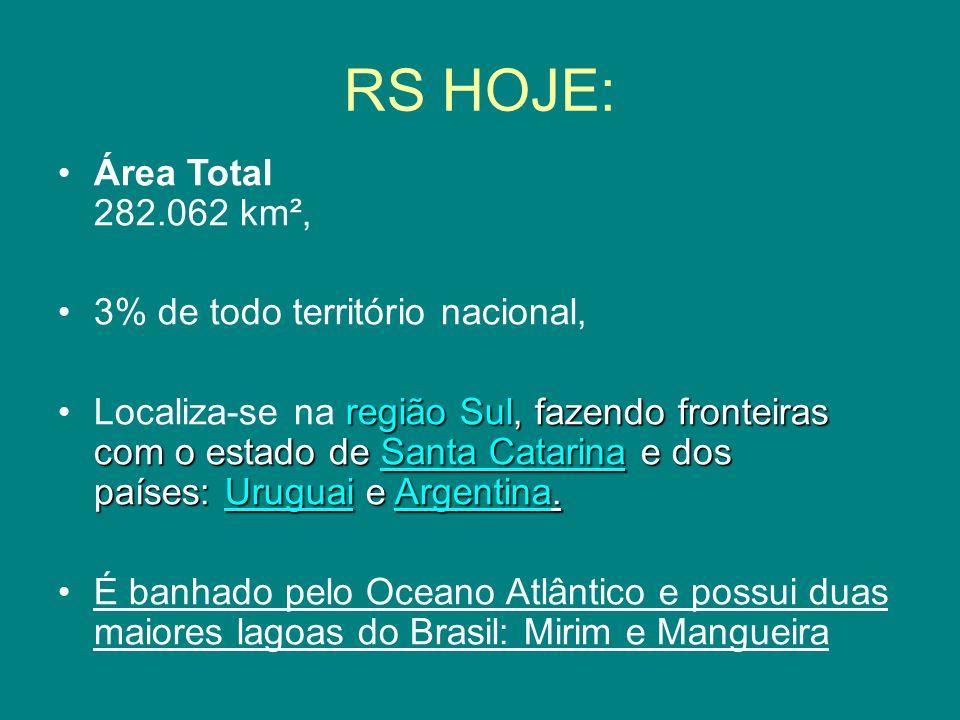 RS HOJE: Área Total 282.062 km², 3% de todo território nacional, região Sul, fazendo fronteiras com o estado de Santa Catarina e dos países: Uruguai e