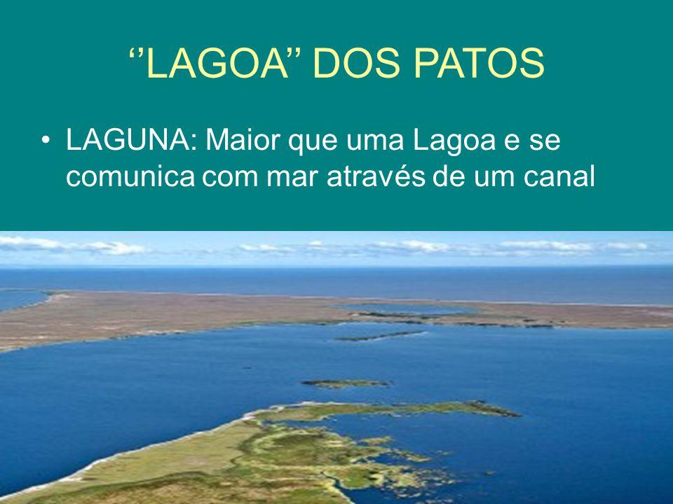 LAGOA DOS PATOS LAGUNA: Maior que uma Lagoa e se comunica com mar através de um canal