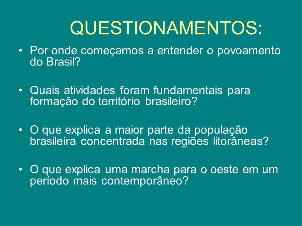 QUESTIONAMENTOS: Por onde começamos a entender o povoamento do Brasil? Quais atividades foram fundamentais para formação do território brasileiro? O q