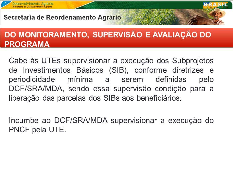 DO MONITORAMENTO, SUPERVISÃO E AVALIAÇÃO DO PROGRAMA Cabe às UTEs supervisionar a execução dos Subprojetos de Investimentos Básicos (SIB), conforme di