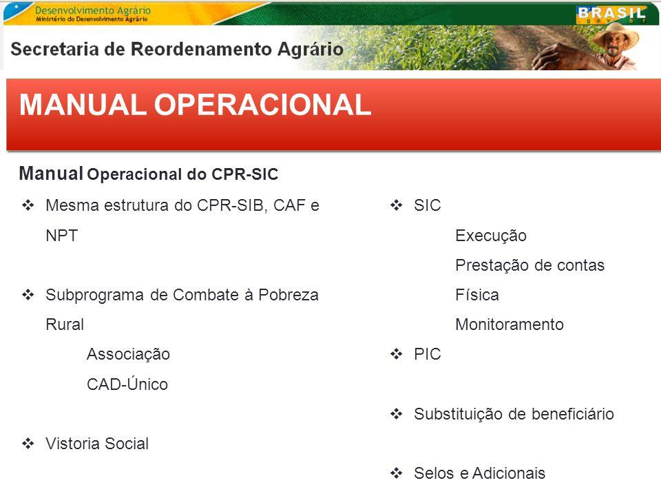MANUAL OPERACIONAL Mesma estrutura do CPR-SIB, CAF e NPT Subprograma de Combate à Pobreza Rural Associação CAD-Único Vistoria Social SIC Execução Pres