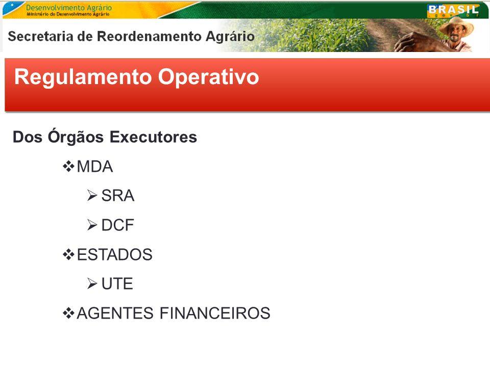 Regulamento Operativo Dos Órgãos Executores MDA SRA DCF ESTADOS UTE AGENTES FINANCEIROS