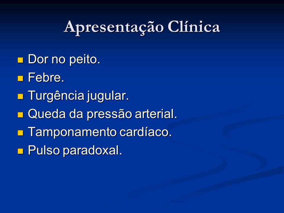 Apresentação Clínica Dor no peito. Dor no peito. Febre. Febre. Turgência jugular. Turgência jugular. Queda da pressão arterial. Queda da pressão arter