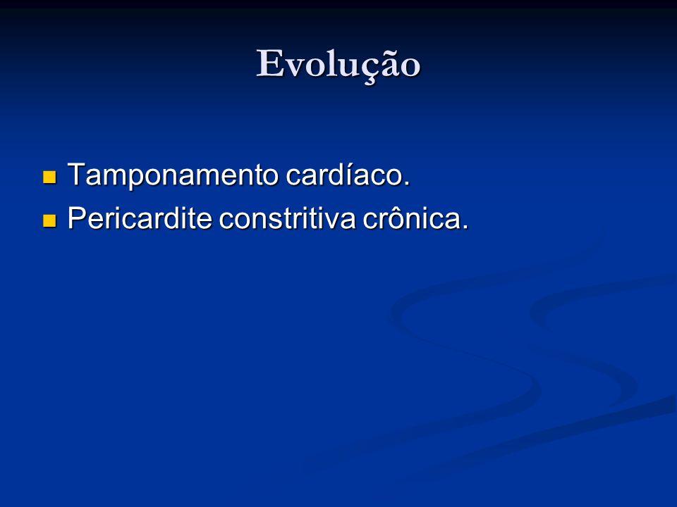 Evolução Tamponamento cardíaco. Tamponamento cardíaco. Pericardite constritiva crônica. Pericardite constritiva crônica.