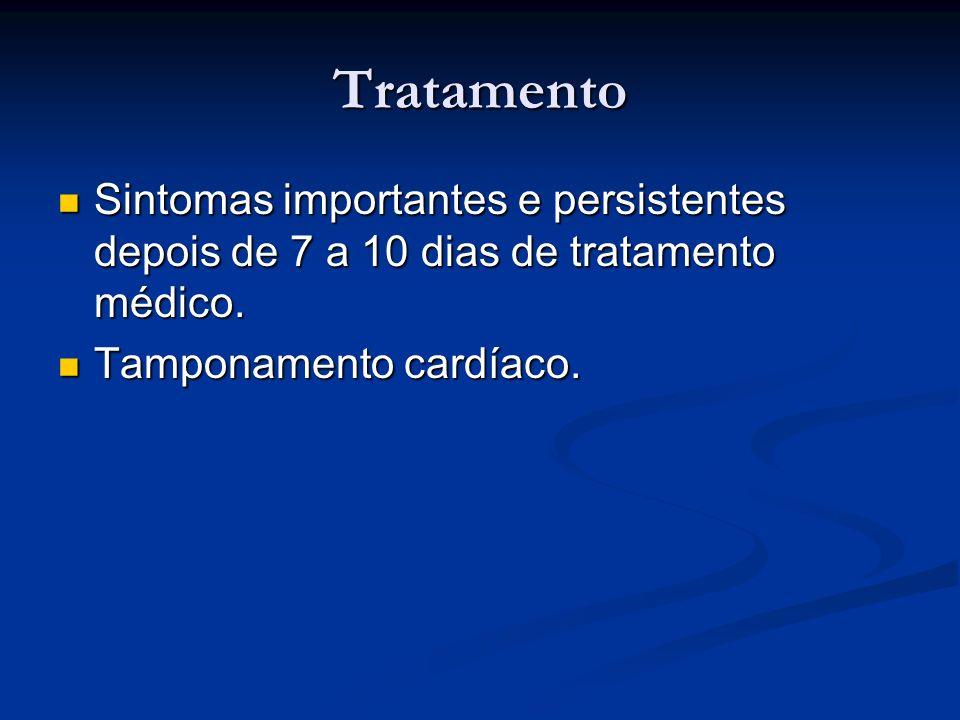 Tratamento Sintomas importantes e persistentes depois de 7 a 10 dias de tratamento médico. Sintomas importantes e persistentes depois de 7 a 10 dias d