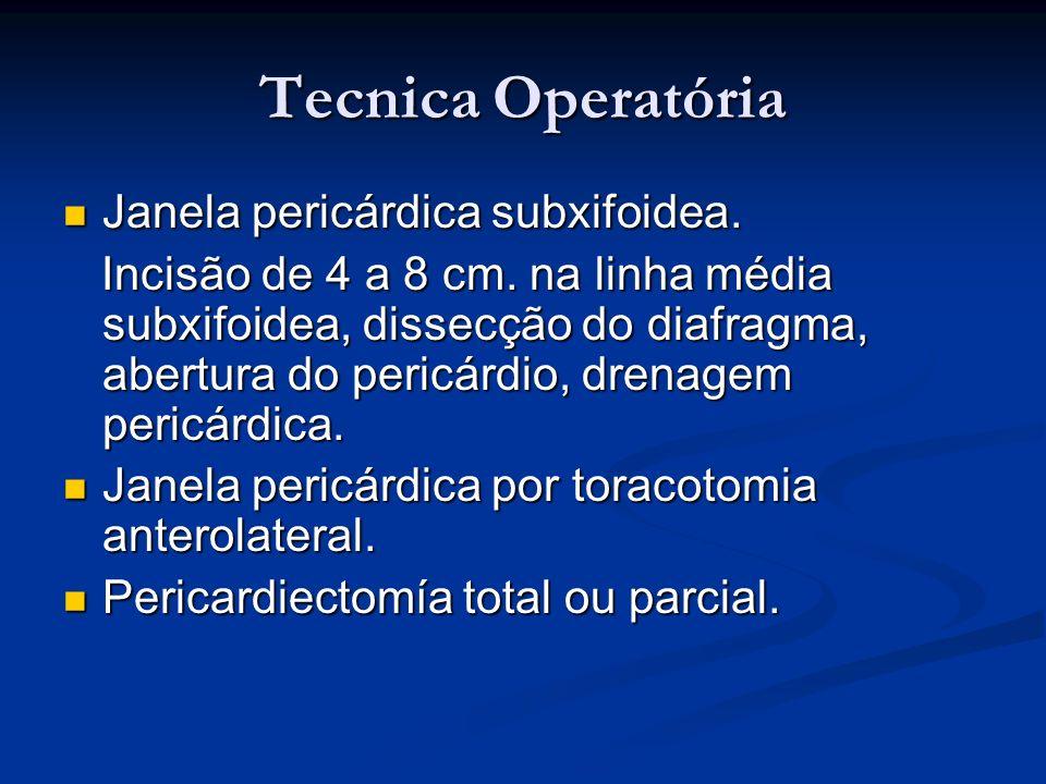 Tecnica Operatória Janela pericárdica subxifoidea. Janela pericárdica subxifoidea. Incisão de 4 a 8 cm. na linha média subxifoidea, dissecção do diafr