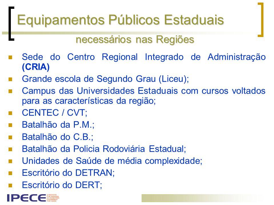 Equipamentos Públicos Estaduais Sede do Centro Regional Integrado de Administração (CRIA) Grande escola de Segundo Grau (Liceu); Campus das Universida