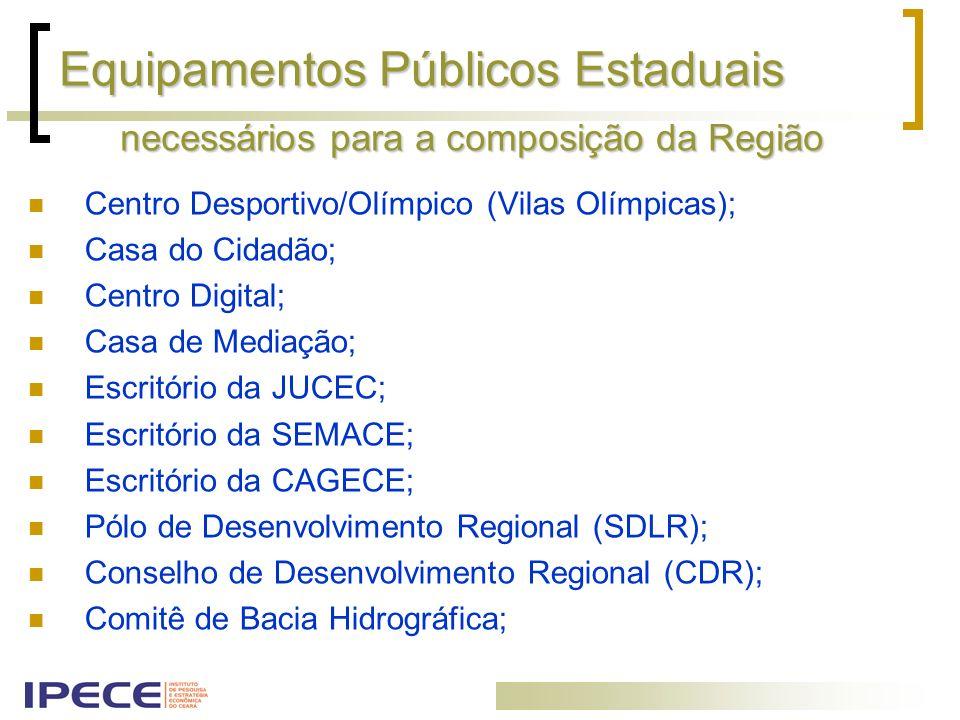 Equipamentos Públicos Estaduais Centro Desportivo/Olímpico (Vilas Olímpicas); Casa do Cidadão; Centro Digital; Casa de Mediação; Escritório da JUCEC;