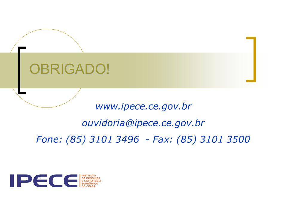 OBRIGADO! www.ipece.ce.gov.br ouvidoria@ipece.ce.gov.br Fone: (85) 3101 3496 - Fax: (85) 3101 3500