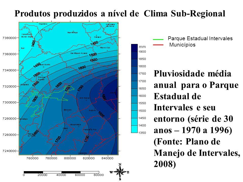 Produtos produzidos a nível de Clima Sub-Regional Parque Estadual Intervales Municípios Pluviosidade média anual para o Parque Estadual de Intervales