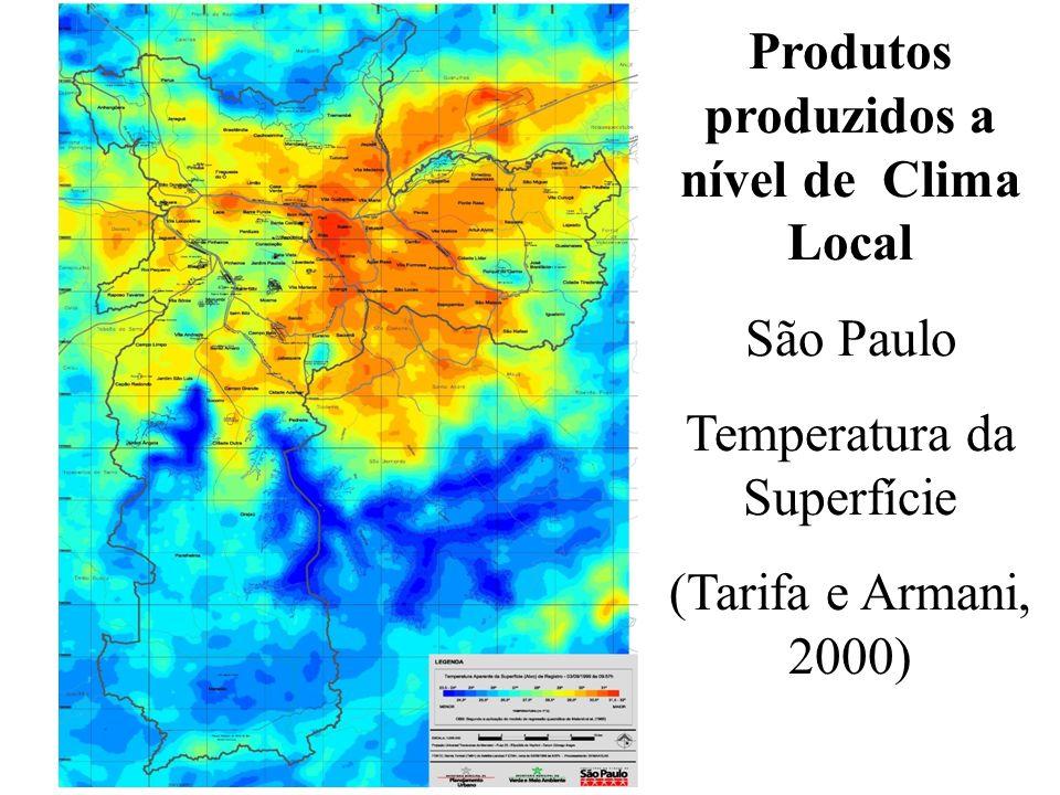 Produtos produzidos a nível de Clima Local São Paulo Temperatura da Superfície (Tarifa e Armani, 2000)