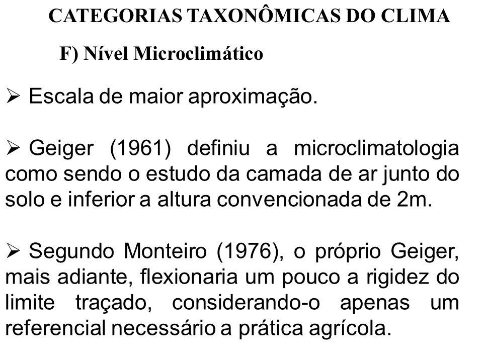 CATEGORIAS TAXONÔMICAS DO CLIMA F) Nível Microclimático Escala de maior aproximação. Geiger (1961) definiu a microclimatologia como sendo o estudo da