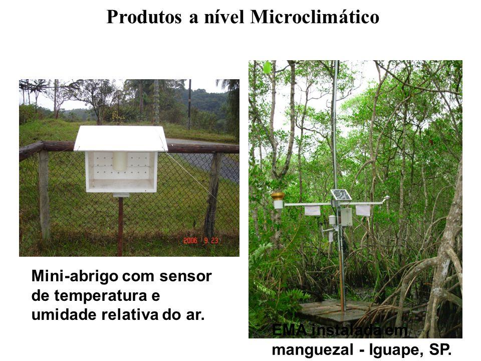 Produtos a nível Microclimático Mini-abrigo com sensor de temperatura e umidade relativa do ar. EMA instalada em manguezal - Iguape, SP.