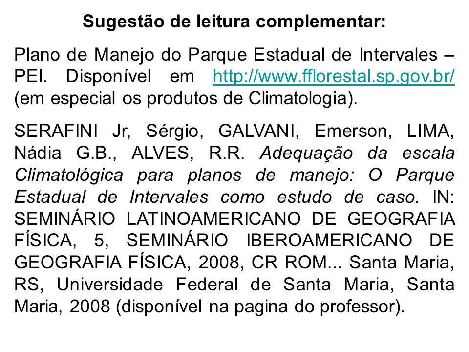 Sugestão de leitura complementar: Plano de Manejo do Parque Estadual de Intervales – PEI. Disponível em http://www.fflorestal.sp.gov.br/ (em especial