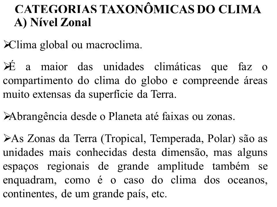 CATEGORIAS TAXONÔMICAS DO CLIMA A) Nível Zonal Clima global ou macroclima. É a maior das unidades climáticas que faz o compartimento do clima do globo