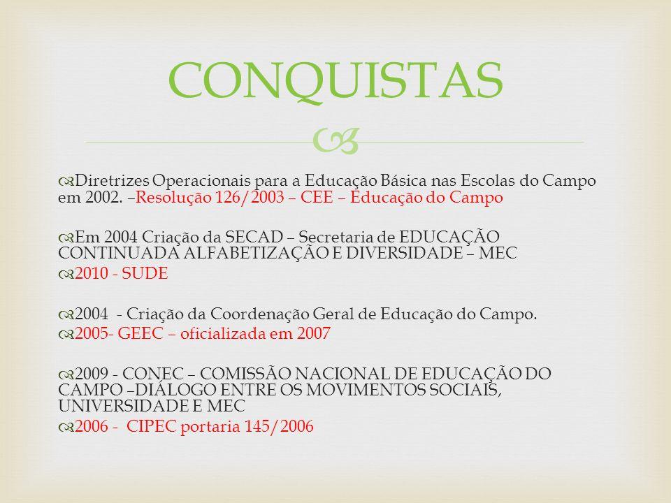 Diretrizes Operacionais para a Educação Básica nas Escolas do Campo em 2002. –Resolução 126/2003 – CEE – Educação do Campo Em 2004 Criação da SECAD –