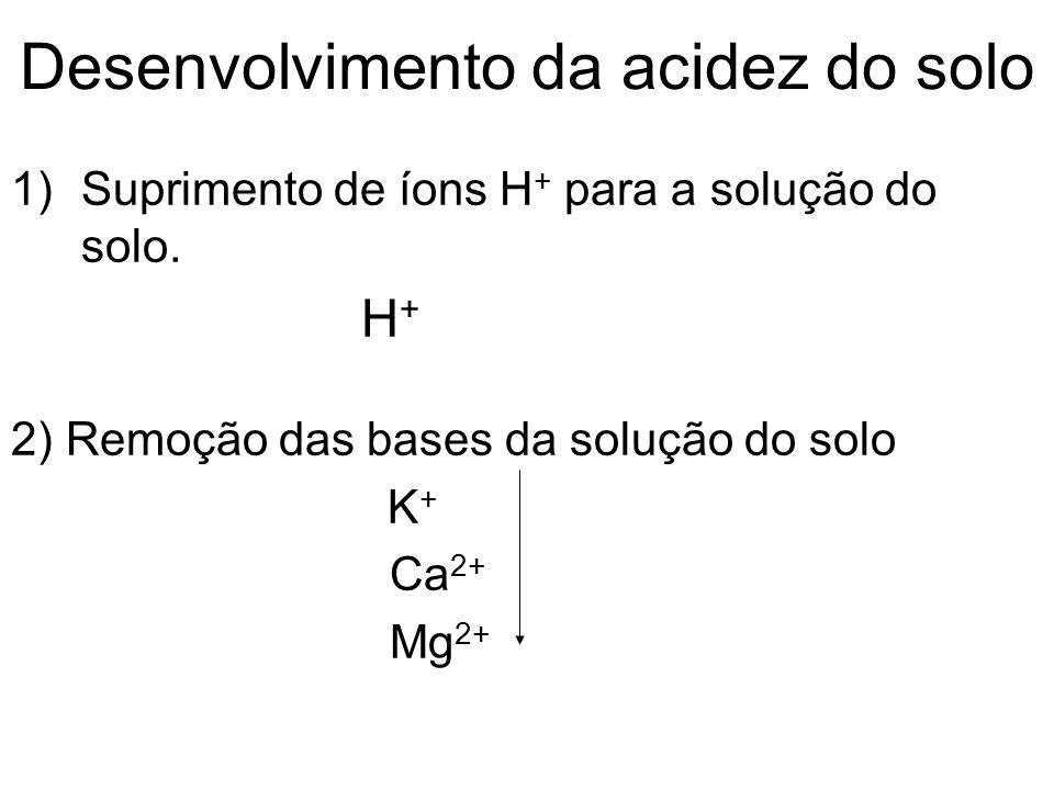 Desenvolvimento da acidez do solo 1)Suprimento de íons H + para a solução do solo. H + 2) Remoção das bases da solução do solo K + Ca 2+ Mg 2+