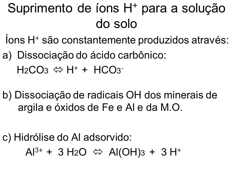Suprimento de íons H + para a solução do solo Íons H + são constantemente produzidos através: a) Dissociação do ácido carbônico: H 2 CO 3 H + + HCO 3