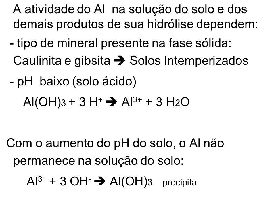 A atividade do Al na solução do solo e dos demais produtos de sua hidrólise dependem: - tipo de mineral presente na fase sólida: Caulinita e gibsita S