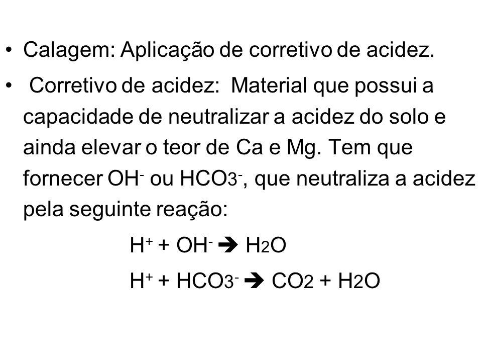 Calagem: Aplicação de corretivo de acidez. Corretivo de acidez: Material que possui a capacidade de neutralizar a acidez do solo e ainda elevar o teor