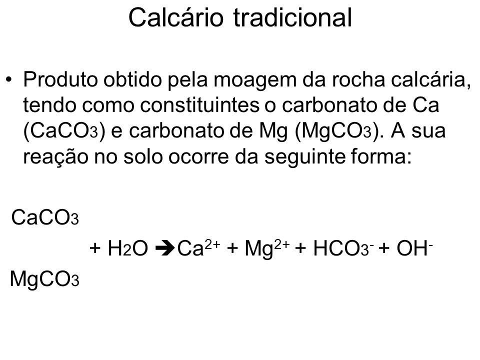 Calcário tradicional Produto obtido pela moagem da rocha calcária, tendo como constituintes o carbonato de Ca (CaCO 3 ) e carbonato de Mg (MgCO 3 ). A
