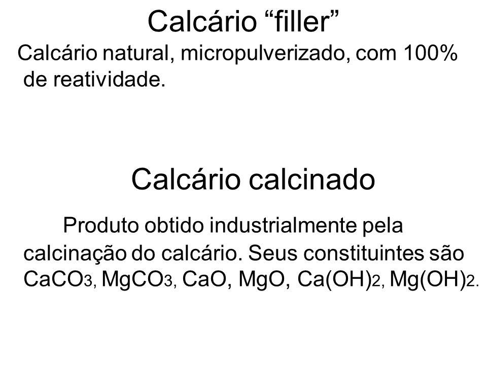 Calcário filler Calcário natural, micropulverizado, com 100% de reatividade. Calcário calcinado Produto obtido industrialmente pela calcinação do calc