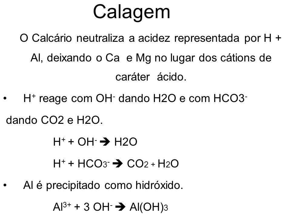 Calagem O Calcário neutraliza a acidez representada por H + Al, deixando o Ca e Mg no lugar dos cátions de caráter ácido. H + reage com OH - dando H2O