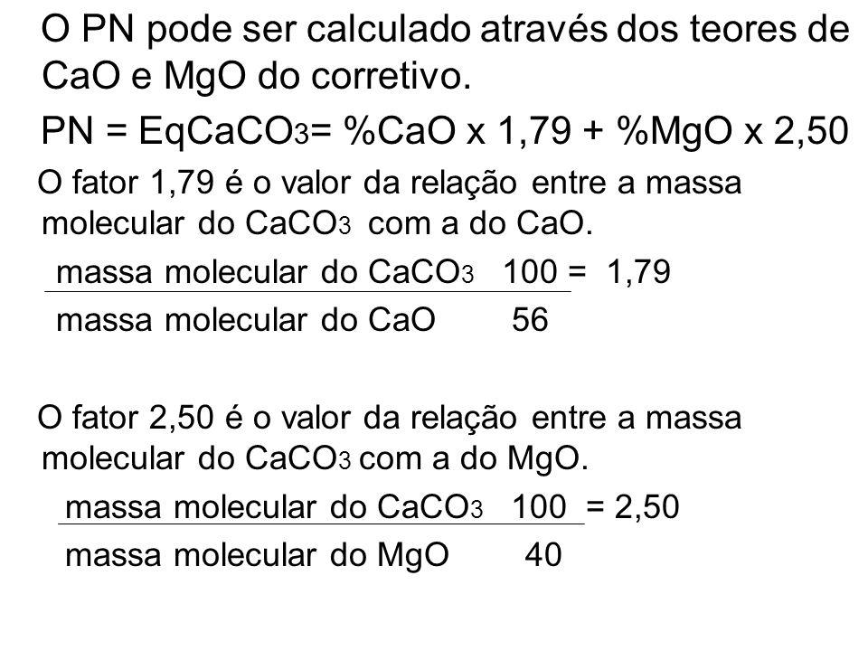 O PN pode ser calculado através dos teores de CaO e MgO do corretivo. PN = EqCaCO 3 = %CaO x 1,79 + %MgO x 2,50 O fator 1,79 é o valor da relação entr
