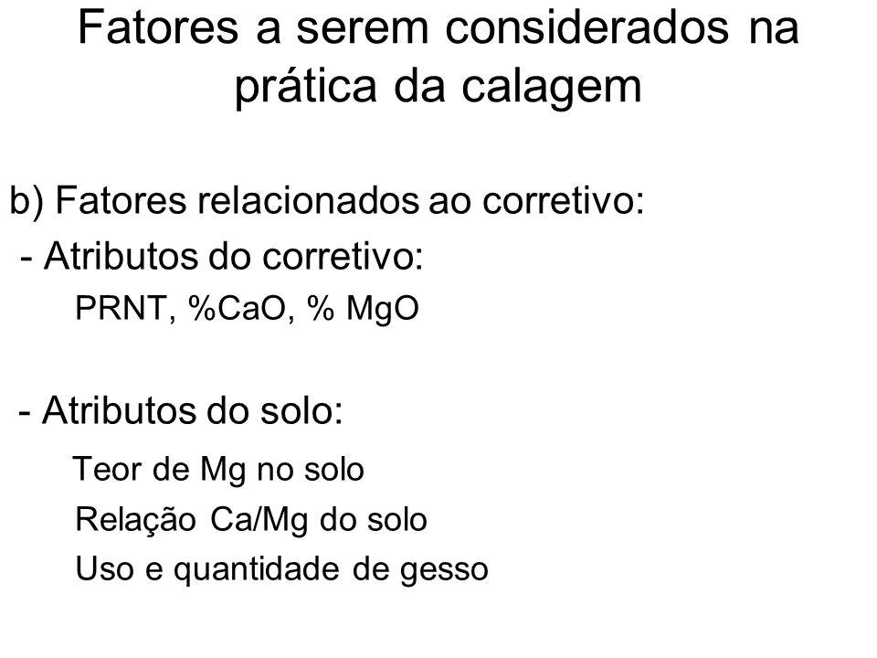 Fatores a serem considerados na prática da calagem b) Fatores relacionados ao corretivo: - Atributos do corretivo: PRNT, %CaO, % MgO - Atributos do so