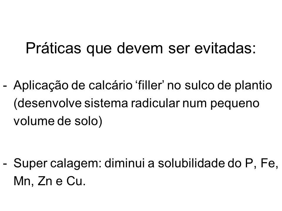 Práticas que devem ser evitadas: -Aplicação de calcário filler no sulco de plantio (desenvolve sistema radicular num pequeno volume de solo) -Super ca
