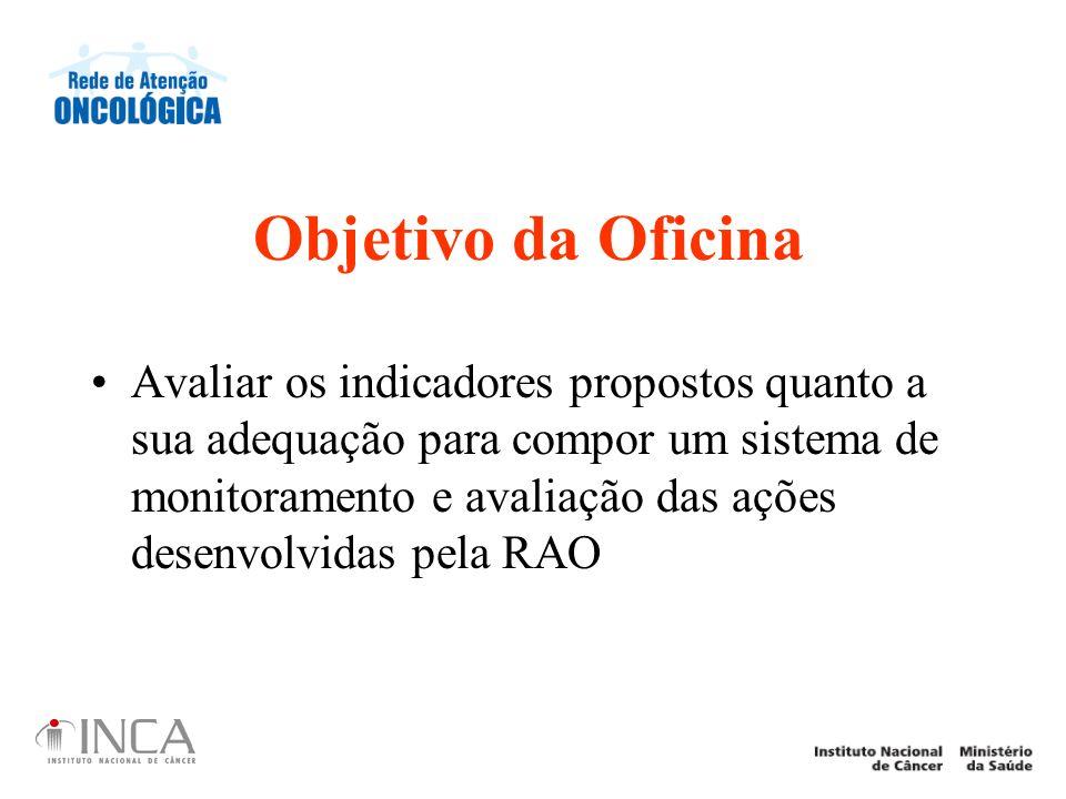 Objetivo da Oficina Avaliar os indicadores propostos quanto a sua adequação para compor um sistema de monitoramento e avaliação das ações desenvolvida