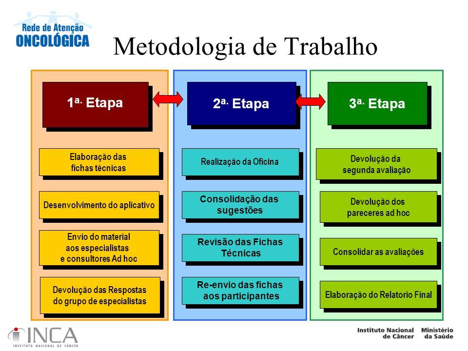 Metodologia de Trabalho Elaboração das fichas técnicas Elaboração das fichas técnicas Desenvolvimento do aplicativo Envio do material aos especialista
