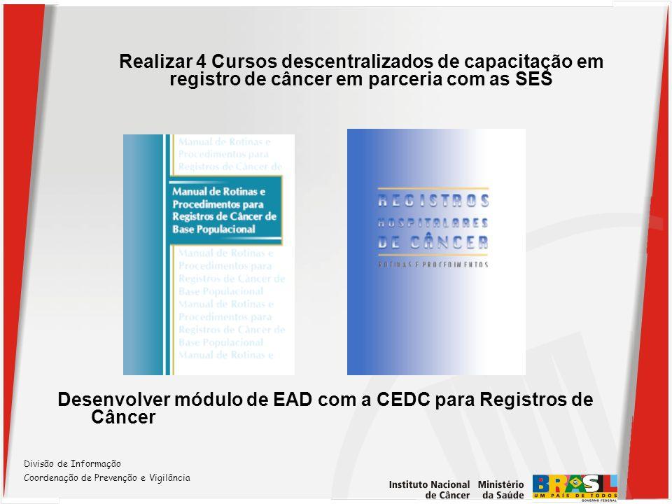 Divisão de Informação Coordenação de Prevenção e Vigilância Realizar 4 Cursos descentralizados de capacitação em registro de câncer em parceria com as