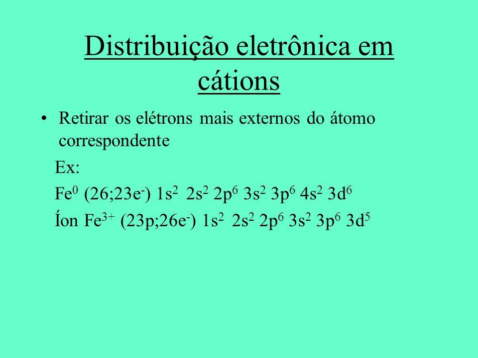 Distribuição eletrônica em cátions Retirar os elétrons mais externos do átomo correspondente Ex: Fe 0 (26;23e - ) 1s 2 2s 2 2p 6 3s 2 3p 6 4s 2 3d 6 Í