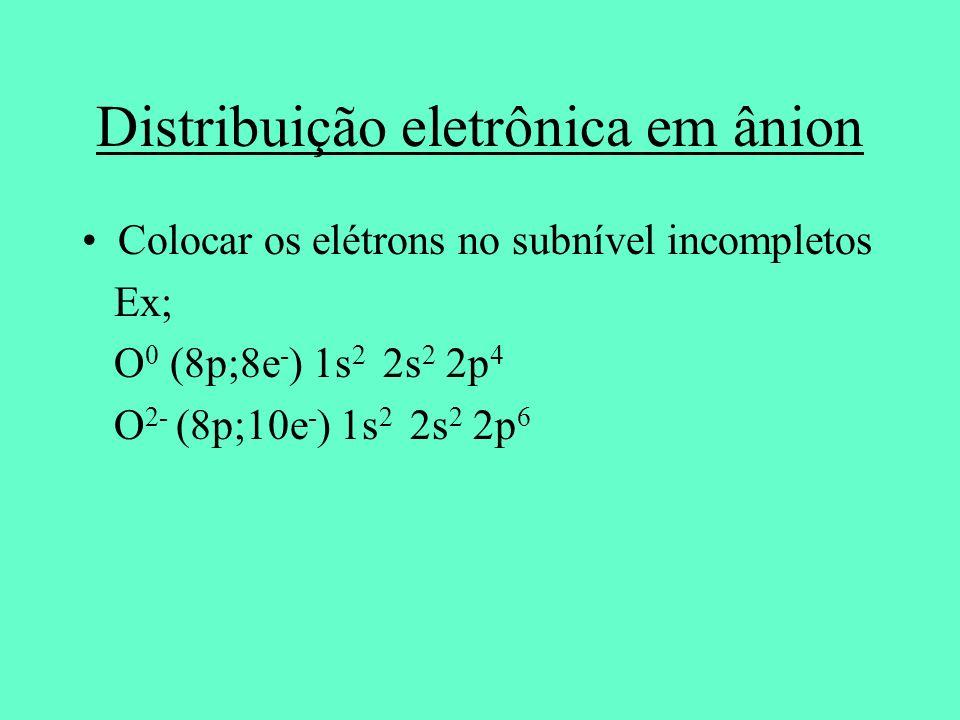 Distribuição eletrônica em ânion Colocar os elétrons no subnível incompletos Ex; O 0 (8p;8e - ) 1s 2 2s 2 2p 4 O 2- (8p;10e - ) 1s 2 2s 2 2p 6