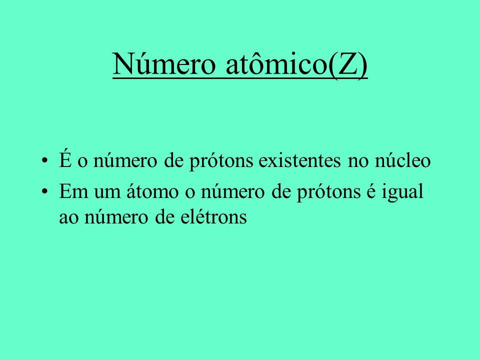 É o número de prótons existentes no núcleo Em um átomo o número de prótons é igual ao número de elétrons Número atômico(Z)