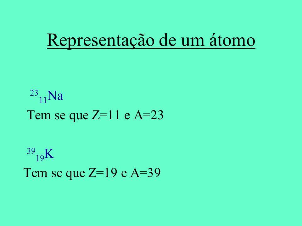 Representação de um átomo 23 11 Na Tem se que Z=11 e A=23 39 19 K Tem se que Z=19 e A=39
