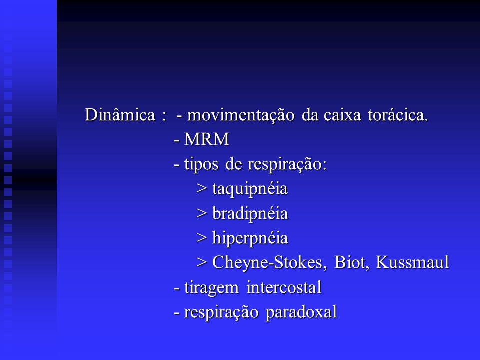 Dinâmica : - movimentação da caixa torácica. Dinâmica : - movimentação da caixa torácica. - MRM - MRM - tipos de respiração: - tipos de respiração: >