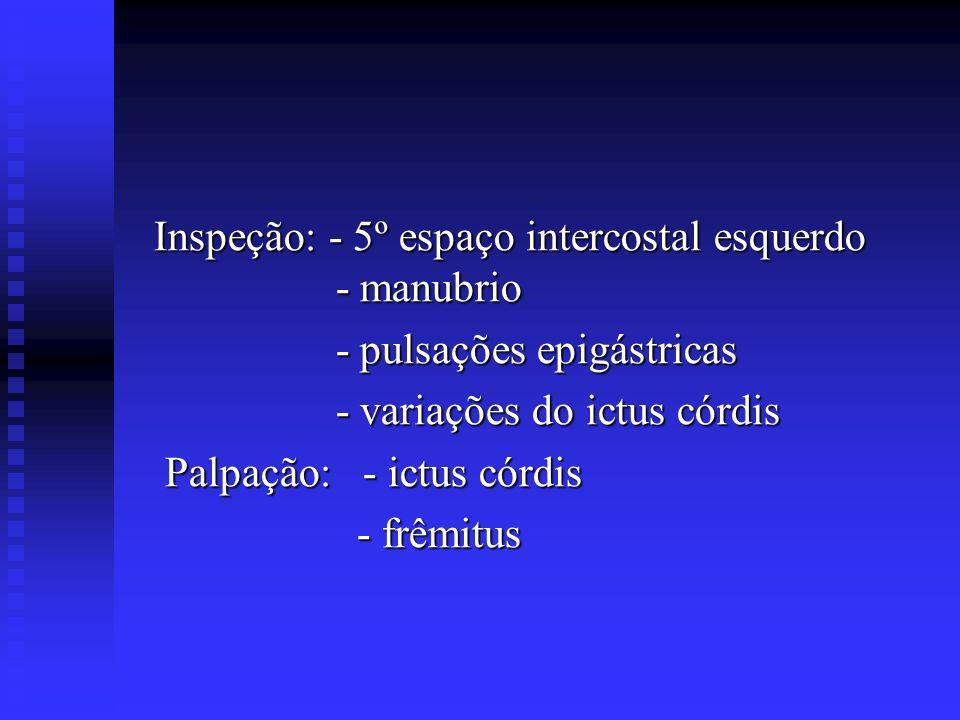 Inspeção: - 5º espaço intercostal esquerdo - manubrio Inspeção: - 5º espaço intercostal esquerdo - manubrio - pulsações epigástricas - pulsações epigá