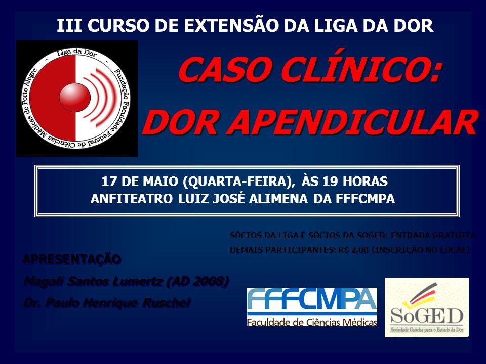 SÓCIOS DA LIGA E SÓCIOS DA SOGED: ENTRADA GRATUITA DEMAIS PARTICIPANTES: R$ 2,00 (INSCRIÇÃO NO LOCAL) 17 DE MAIO (QUARTA-FEIRA), ÀS 19 HORAS ANFITEATRO LUIZ JOSÉ ALIMENA DA FFFCMPA APRESENTAÇÃO Magali Santos Lumertz (AD 2008) Dr.