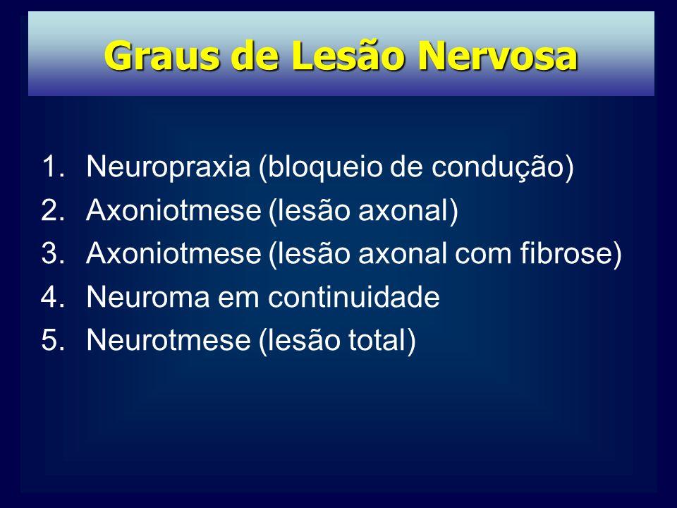 1.Neuropraxia (bloqueio de condução) 2.Axoniotmese (lesão axonal) 3.Axoniotmese (lesão axonal com fibrose) 4.Neuroma em continuidade 5.Neurotmese (lesão total) Graus de Lesão Nervosa
