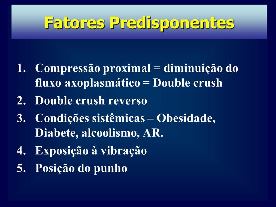 1.Compressão proximal = diminuição do fluxo axoplasmático = Double crush 2.Double crush reverso 3.Condições sistêmicas – Obesidade, Diabete, alcoolismo, AR.