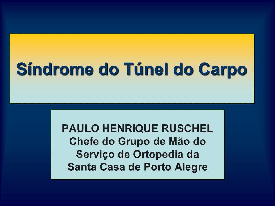 Síndrome do Túnel do Carpo PAULO HENRIQUE RUSCHEL Chefe do Grupo de Mão do Serviço de Ortopedia da Santa Casa de Porto Alegre PAULO HENRIQUE RUSCHEL Chefe do Grupo de Mão do Serviço de Ortopedia da Santa Casa de Porto Alegre