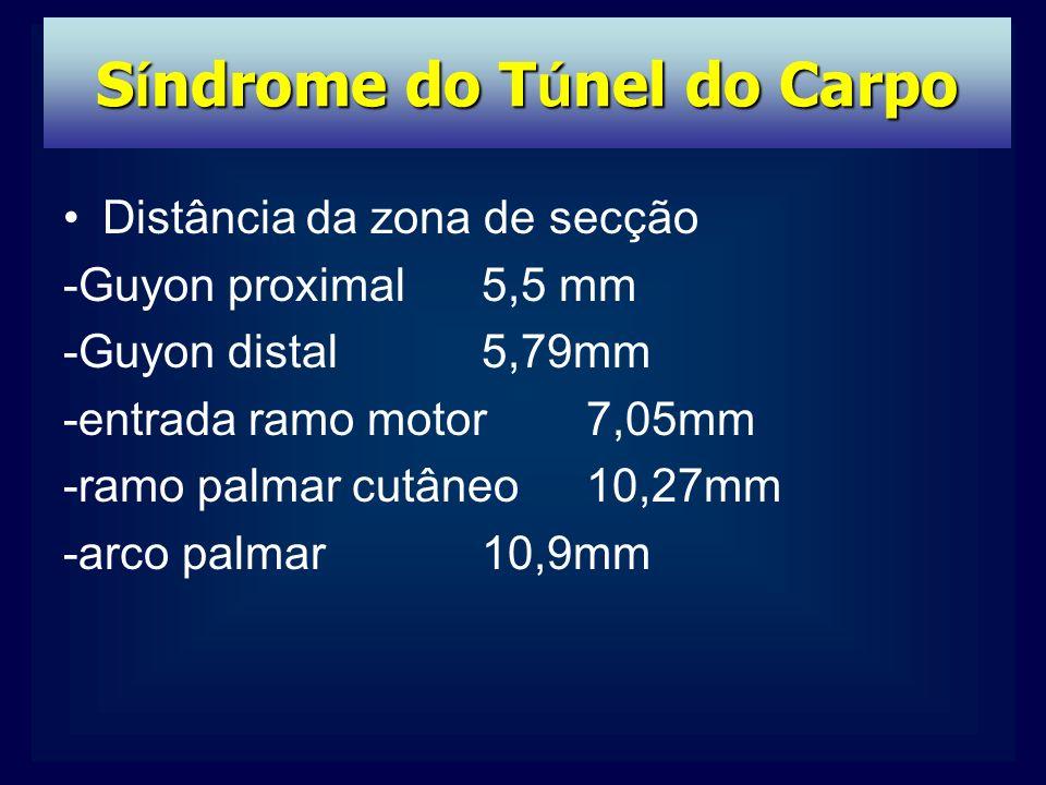 Distância da zona de secção -Guyon proximal 5,5 mm -Guyon distal5,79mm -entrada ramo motor7,05mm -ramo palmar cutâneo10,27mm -arco palmar10,9mm S í ndrome do T ú nel do Carpo