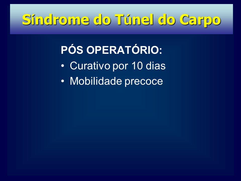 PÓS OPERATÓRIO: Curativo por 10 dias Mobilidade precoce S í ndrome do T ú nel do Carpo
