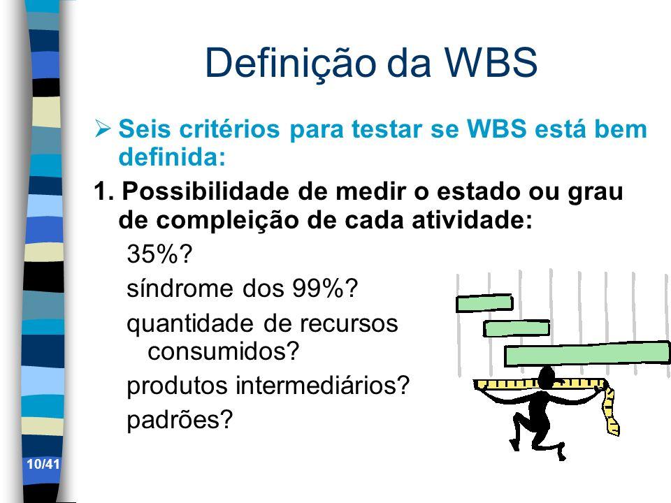 Definição da WBS Seis critérios para testar se WBS está bem definida: 1. Possibilidade de medir o estado ou grau de compleição de cada atividade: 35%?